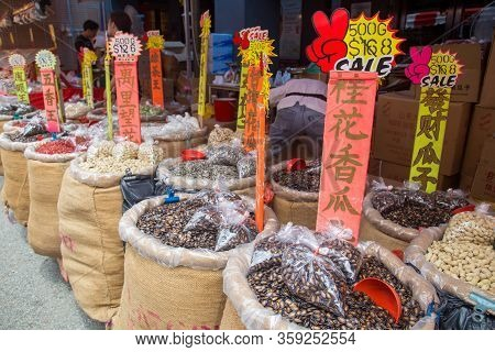 Singapore, Singapore - February 3, 2015: Nuts In Bags For Sale At The Local Market In Chinatown Dist