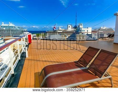 Fort Lauderdale - December 1, 2019: Upper Deck Of Holland America Cruise Ship Eurodam