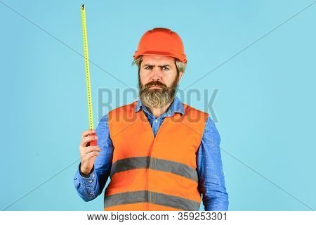 Make Measurements Apartment Renovation. Safety Engineer Measure Acceptable Parameters. Builder With