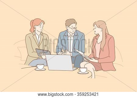 Business Negotiation, Meeting, Discussion, Coworking Concept. Team Of Business People Businessman Wo