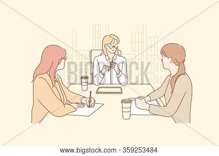 Business Meeting, Discussion, Planning, Training, Report Concept. Businesswomen Office Workers Clerk