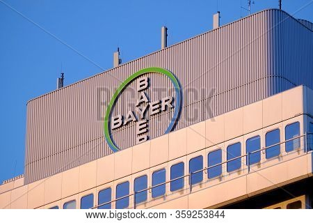 April 1, 2020, Berlin Germany - Bayer Pharma Ag, Logo On The Roof Of The Administration And Laborato