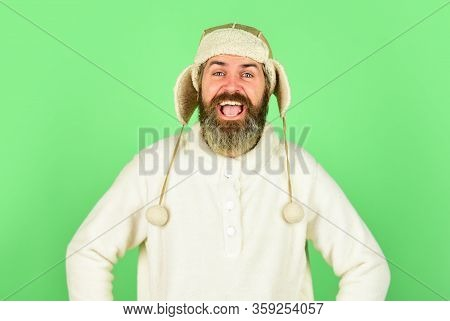 Bearded Hipster. Hairdresser Salon. Barber Services. Bearded Man Wear Hat With Ear Flaps. Furry Acce