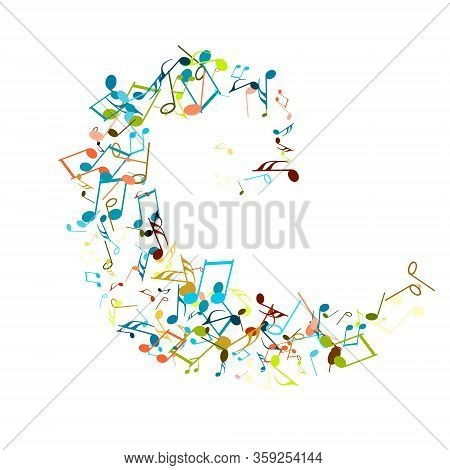 Rainbow Flying Musical Notes On White. Musical Symbols For Banner Of Festival, Print Design, Melody
