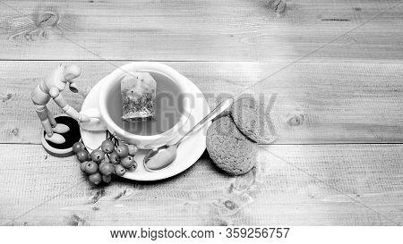 Gourmet Delicious Taste. Cafe Menu. Berry Tea. Ceramic Cup Hot Fresh Brewed Tea Beverage. Drink Arom