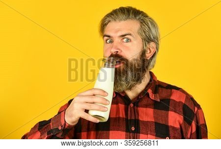 Probiotic Characteristics. Bearded Man Hold Milk Bottle. Creamy And Absolutely Delicious Yogurt. Bre