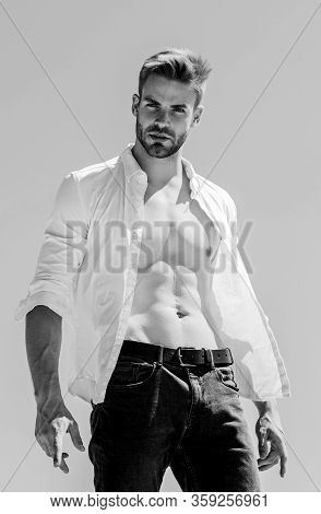 Male Sexuality. Bearded Guy Casual Style. Handsome Man Fashion Model. Muscular Man Sexy Torso. Stron