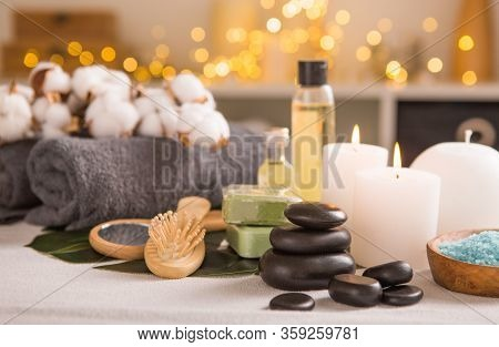 Spa Composition With Christmas Decoration. Holiday Spa Treatment.  Zen And Relax Concept. Spa Concep