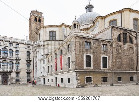 Venice, Italy - June 29 2017: Historic Buildings In Venice A View Of The Colorful Venetian Buildings