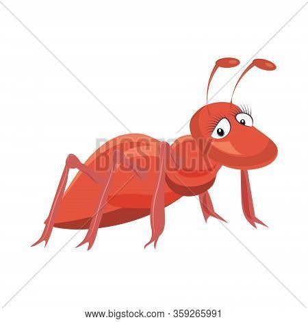 Illustration Of Red Colors Ant Cartoon On White Background