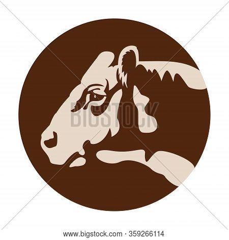 Cow Head Logo Or Icon, Farm Domestic Animal As Rural Or Healthy Natural Fresh Food Sign. Beef Or Ste