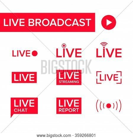 Collection Of Vector Illustrations Of Live Broadcast Icons. Suitable For Design Elements Of Tv Shows