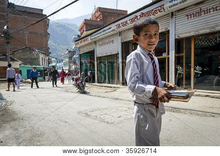 Nepalese Pupil On Kathmandu Street