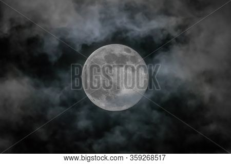 Full Moon Isolated Over Sky Background - Supermoon Concept