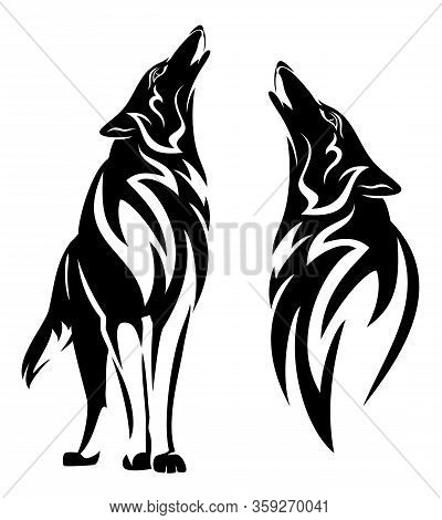 Howling Wolf Black And White Vector Design Set - Standing Animal And Tribal Style Head Outline