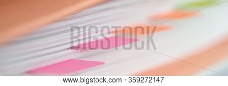 Plastic Stickers Are Pasted Folder With Documents. Preparation Documents For Verification. Systemati