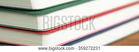 Close Up Stacked Diaries Or Books, Education. Mark Important Dates. Business Notebooks For Planning.
