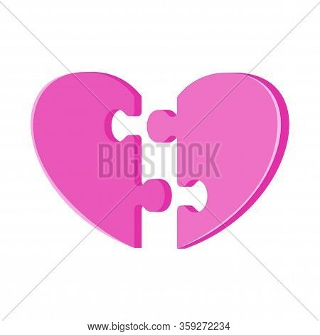 Assemble Huge Jigsaw Puzzle In Shape Of A Heart. Metaphor Of Love, Reciprocity And Understanding. Gr