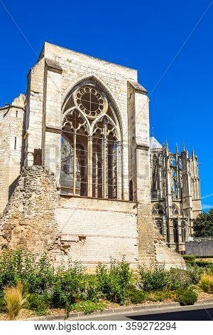 Ruins Of The Saint Barthelemy Collegiate Church 11-18th Centuries And Beauvais Cathedral. Beauvais,