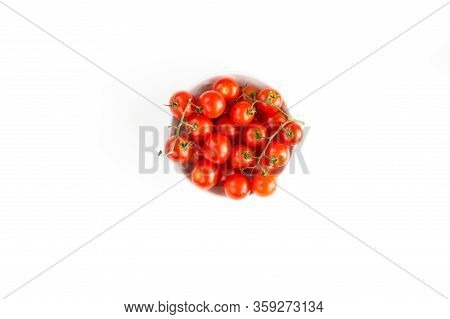 Italian Red Tomatoes Close Up Food With Pasta, Basil Leafs, Cheese, Isolated On White Background - T