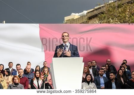 Cospicua / Malta - 19-january-2020 Robert Abela Gives Speech To The People Of Cospicua For The First