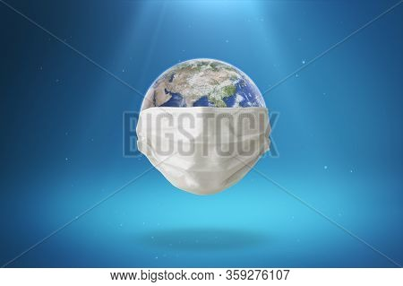 The Earth Wears A Mask To Prevent The Spread Of The Virus. Planet Earth With Face Mask Protect To Fi
