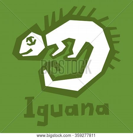 An Illustration Of A Happy Green Cartoon Iguana Lizard. Iguana Linear Icon. Thick Line Art. Herbivor