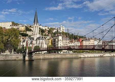 View Of Saone River In Lyon City, France, Europe