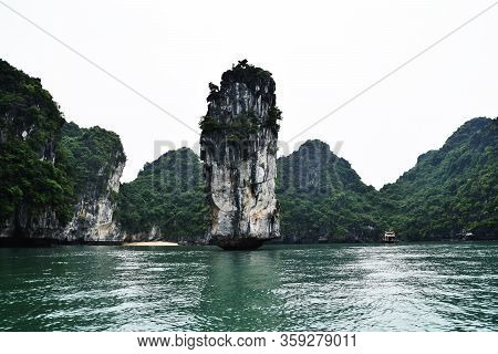 Strage Rocky Formation Emerged From Water In Ha Long Bay In Vietnam