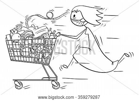 Vector Cartoon Stick Figure Drawing Conceptual Illustration Of Woman Wearing Face Mask Running And P