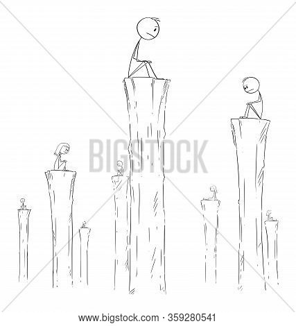 Vector Cartoon Stick Figure Drawing Conceptual Illustration Of People Sitting Alone On High Columns.