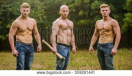 Men With Muscular Torso. Strong Men Nature Background. Inspiring Training Harder. Group Muscular Men