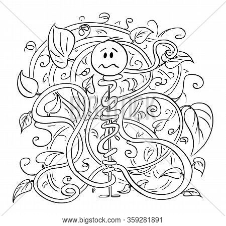 Vector Cartoon Stick Figure Drawing Conceptual Illustration Of Man, Gardener Or Farmer Trapped And T