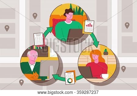 Vector Illustration Of People Working From Home Remotely
