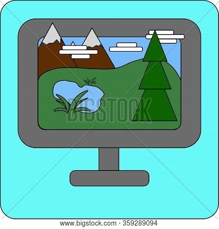 Vector Icon Of The Computer Display Or Monitor With Nature Landscape Mountains, Hills, Clouds, Lake