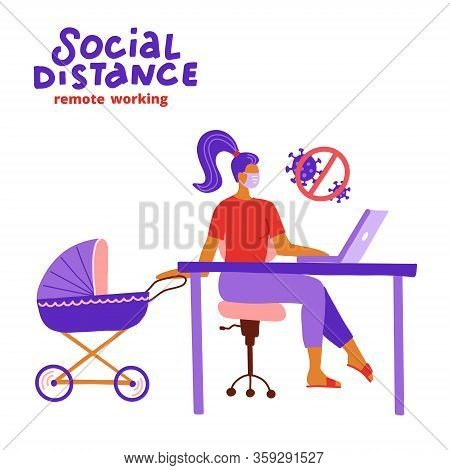 Mother Working At Laptop While The Baby Is Sleeping In Baby Carriage, Stroller. Part-time Job. Work