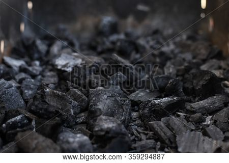 Decayed Coals In The Grill. Brazier With Faded Coals. Coals In The Barbecue Grill. Coals For Grillin