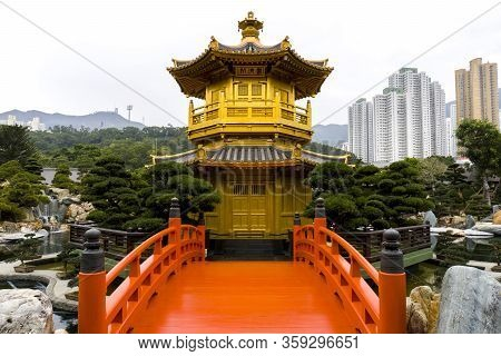Hong Kong - January 18 2020 : Pavilion Of Absolute Perfection , An Octagonal Pavilion Stands In The