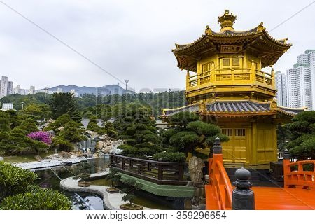 Hong Kong - January 2020 : Pavilion Of Absolute Perfection , An Octagonal Pavilion In Nan Lian Garde