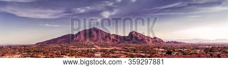 Scottsdale, Phoenix Arizona,Large scale extra wide high detail view of the Valley of the Sun with Camelback Mountain as focal point on a warm beautiful sunny Spring afternoon.
