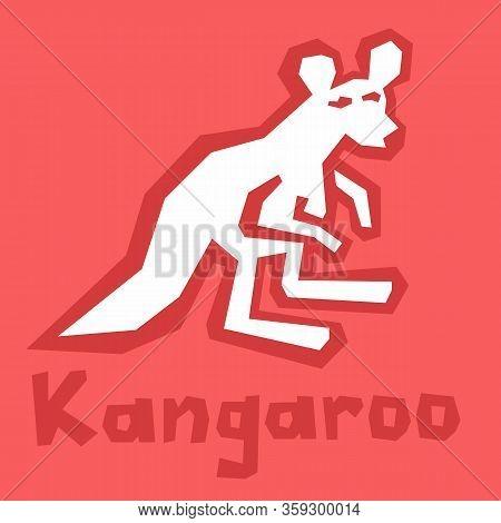 Australian Kangaroo Icon. Design Silhouette Of Kangaroo. Minimalist Style, Flat Simple Icon, Line Ar