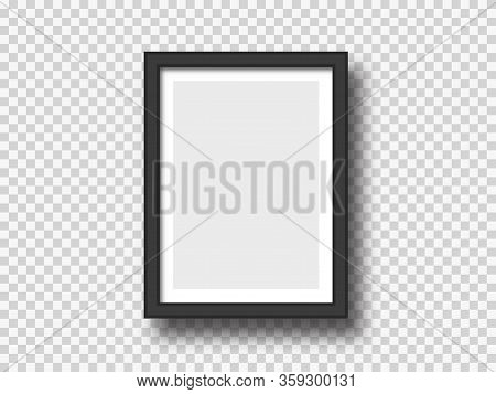Black Wall Picture Or Photograph Frame Mock Up Isolated On Light Background. Rectangular Banner Or P