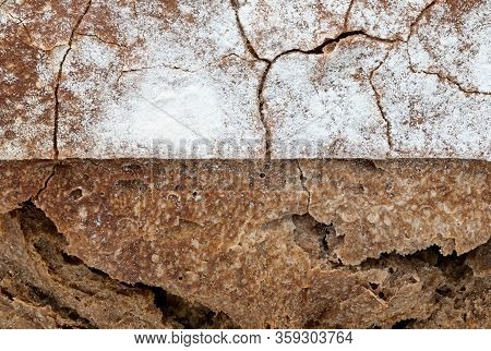 Crispy Rustic Homemade Bread Texture. Close-up Of Whole Rye Bread. Copy Space.