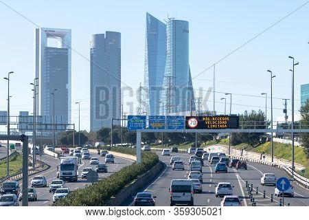 2019-01-02. Highway A1, Madrid, Spain. Traffic In Madrid In The Access To The City M30. Traffic Info