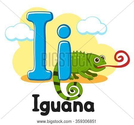 Letter I With Animal, Iguana On A White. Alphabet For Children.