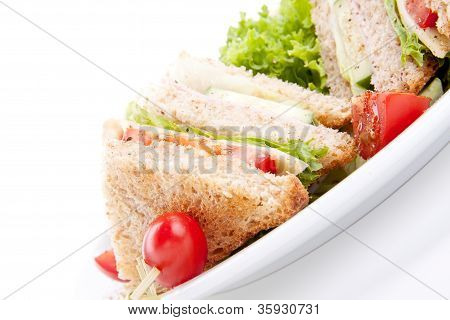 Fresh Tasty Club Sandwich With Salad And Toast Isolated