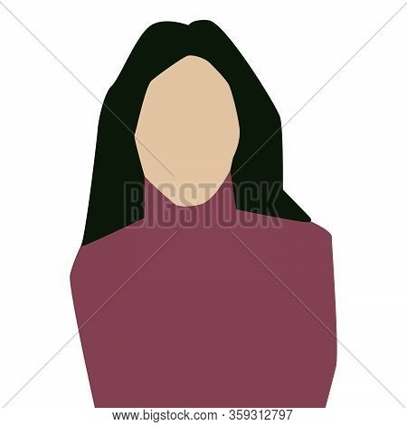 Avatar Profile Icon. Brunette Woman  White Background. Stock Vector Illustration
