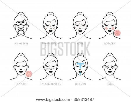 Skin Problems Icons: Aging, Oily, Dry Skin, Rosacea, Acne, Pigmentation, Enlarged Pores, Bags Under