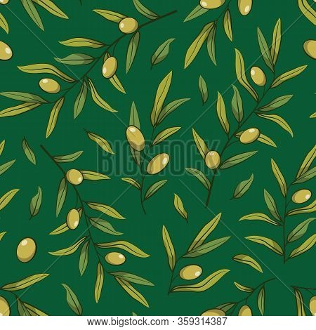 Floral Seamless Pattern With Olive Branches; Green Olives With Foliage On Green Background; Natural