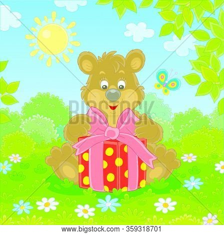 Friendly Smiling Little Brown Bear Holding A Beautiful Box With A Holiday Gift On Green Grass Of A P